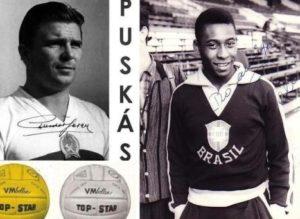 Foto de Puskas autografiada con la selección húngara en 1954, foto de Pelé autografiada con la selección brasileña de 1958 y balones oficiales de Suecia 1958