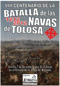 """Cartel de la Conferencia """"VIII Centenario de la Batalla de las Navas de Tolosa. Origen de Bolaños"""""""