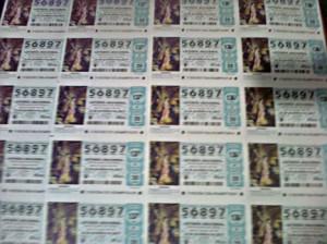 Series del número 56.897 adquirido para la Lotería de Navidad 2013