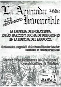 """Cartel de la conferencia """"La Empresa de Inglaterra. Espías, barcos y lucha de religiones en la Europa del Barroco"""""""