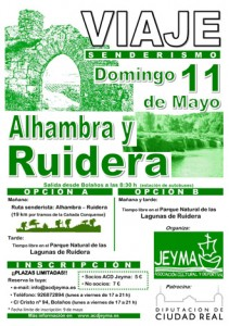 Cartel del viaje a Alhambra y a las Lagunas de Ruidera, con ruta senderista de 19 kilómetros (opcional)