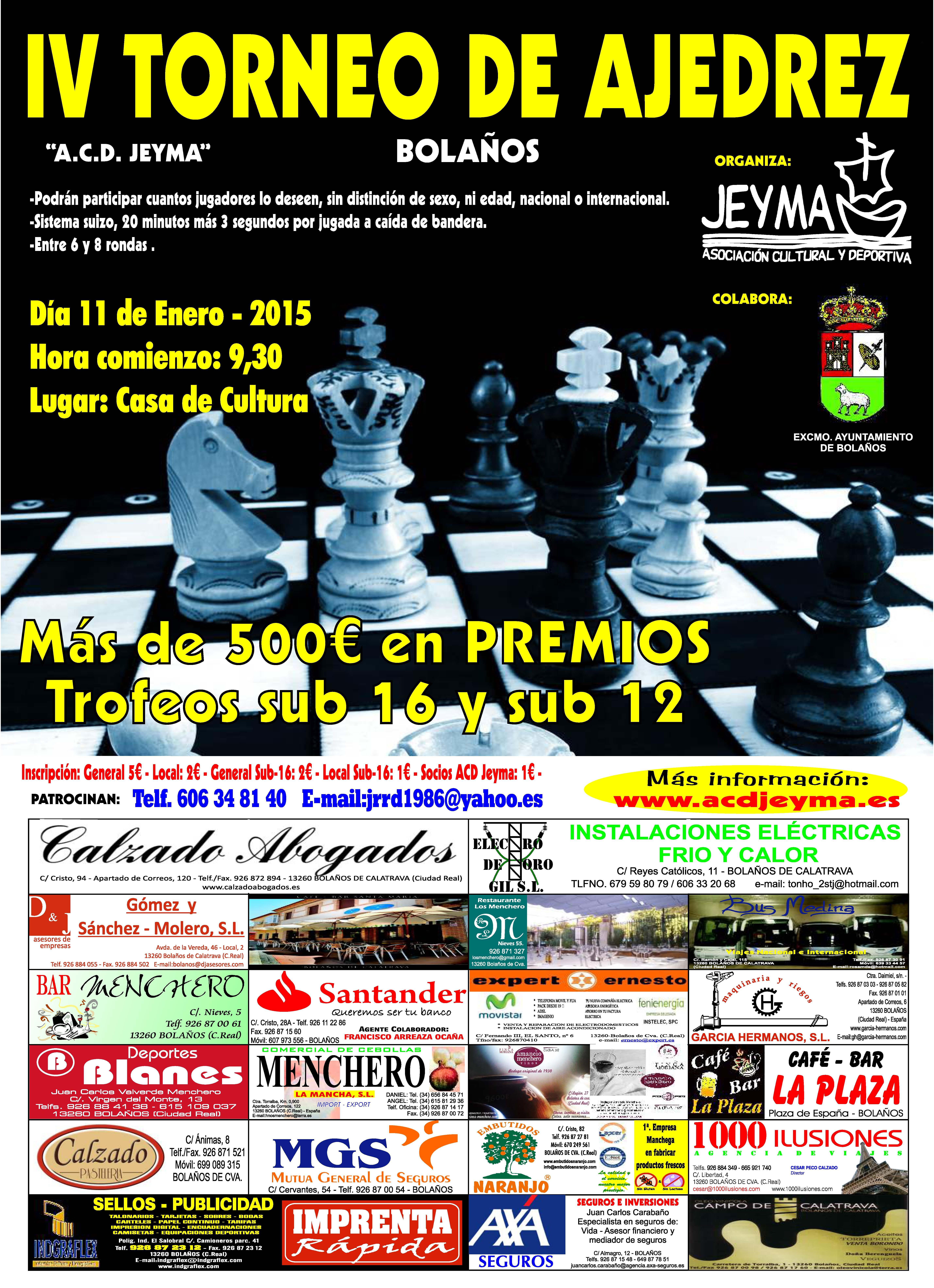 Cartel IV Torneo Ajedrez ACD Jeyma