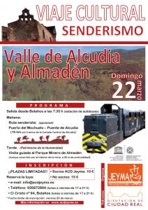 Cartel del Viaje a Almadén con ruta senderista (opcional) y visita al Parque Minero