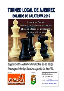 Cartel del Torneo Local de Ajedrez 2015 en  Bolaños.